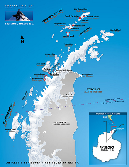 Map for Antarctica Photography Workshop