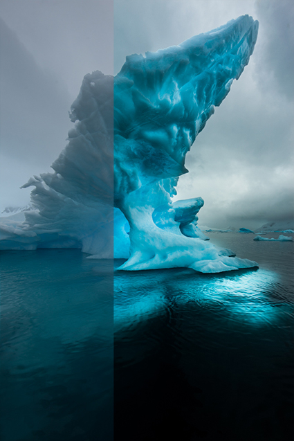 View of Iceberg extending deep into the ocean in Paradise Cove, Antarctica